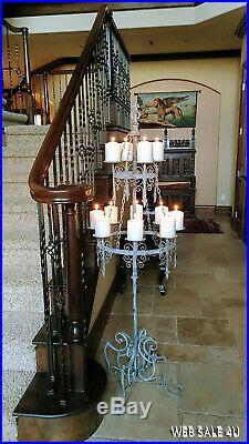 Antique Iron Candelabra French Floor Candle Holder Vintage Distressed Metal Déco