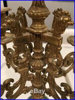 Antique Italian Brass Candlebra Candle Holders Pair 17 1/4 Tall