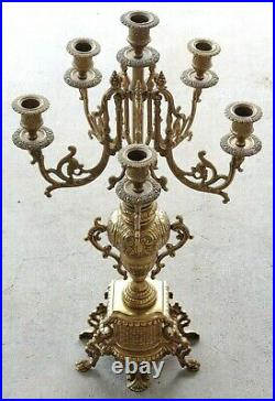 Antique Italian Brass Large Ornate Candelabra 5-Arm Candle Holder Baroque Style