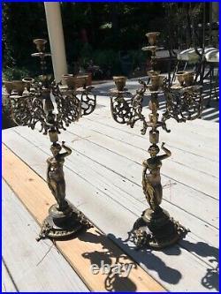 Antique Italian Brevettato Baroque Brass Bronze Candelabra Ornate Alter rare