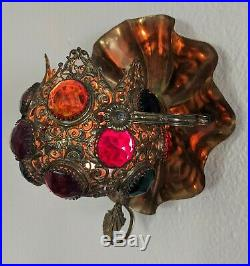 Antique Jeweled Lamp Fairy Light Brass Candle Holder