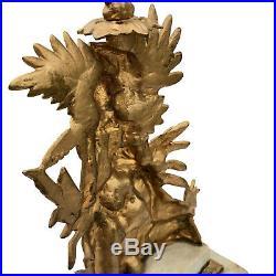 Antique Large Brass Girandole Candelabra Marble Base Candle Holder