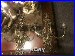 Antique Large Pair (2) Brass Wall Sconce Candle Holders-Holds 3 Tapers-17.5x 12