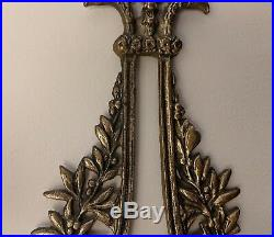 Antique Large Pair (2) Brass Wall Sconce Candle Holders-Holds 3 Tapers-18 x 12