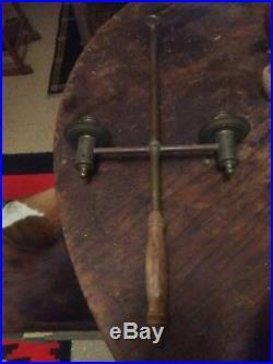 Antique Louisiana Religious Catholic Hand Held Double Brass Candleholder. Nice