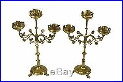 Antique Matched Pair Brass Gothic Revival 3 Arm Church Altar Candelabra, French