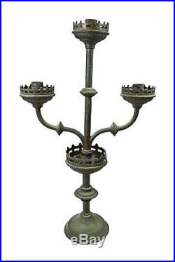 Antique Matching Pair of Brass Gothic Revival Church Altar Candelabras, French