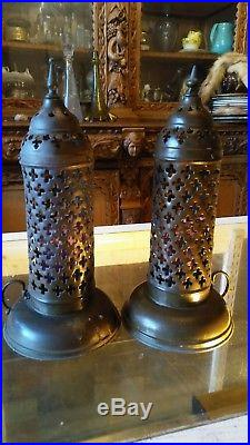 Antique Moorish Persian Brass Candle Holders with Ornate Pierced Brass Shades
