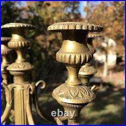 Antique Multi-arm Ornate 5 Arm Brass Candlestick Candelabra