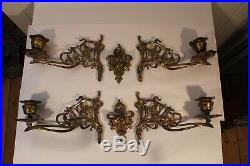 Antique Or Vintage Ornate Brass Pair Double Wall Sconce Candlestick Candleholder
