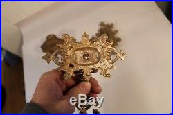 Antique Or Vintage Ornate Brass Pair Wall Sconce Candlestick Candleholder