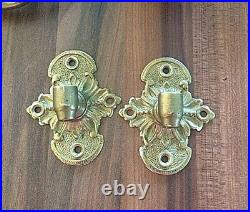 Antique Ornate Brass Griffin Piano Candle Holders / Wall Sconce