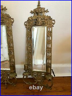 Antique Ornate Candle Holder Sconces with Beveled Mirror