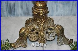 Antique Ornate Tall Brass Candelabra 4 Arm Candle Holder Centerpiece