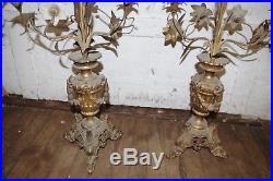 Antique PAIR CANDLESTICKS Bronze Brass Glass Flowers Candelabra