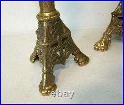 Antique Pair 19.5 Church Altar BRASS CANDLESTICKS Candle Holders, High Quality