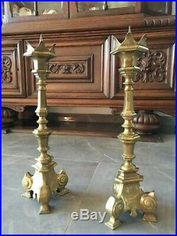 Antique Pair Brass Of Catholic Church CandleSticks Candle Holder 16 8 Lb