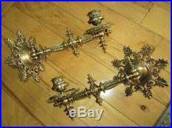 Antique Pair Bronze Eastlake Piano Wall Sconces Victorian Brass Candle Holders