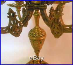 Antique Pair FRENCH Bronze Brass CANDELABRA Candle Holders Paw Feet Empire