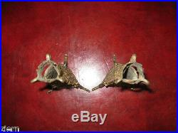 Antique Pair French Candle Holders Brass Early 1900's Triangle Shaped
