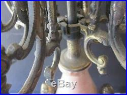 Antique Pair Heavy Solid Brass & Marble Candelabras 6 Arm 7 Candle Holder
