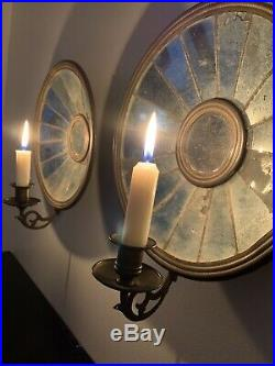 Antique Pair Tin Mirrored Candle Holder Wall Sconces Brass Holders Detailed Band