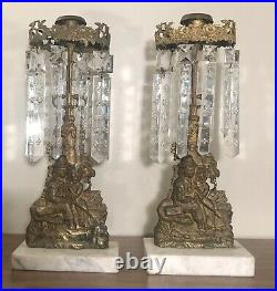 Antique Pair Victorian Girandole Crystal Brass Marble Base Candle Holder 18