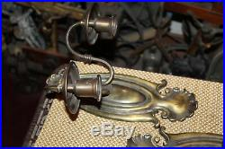 Antique Pair Wall Mounted Sconce Light Fixture Candlestick Holder Double Arm