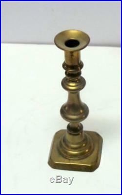 Antique Pair of 19th c. Brass Push Up Candlesticks 9 tall