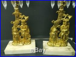 Antique Pair of Brass Candlestick Holder with Prisms and Marble Base