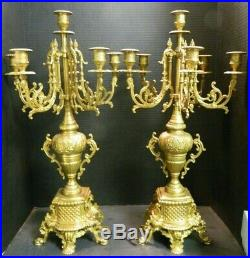 Antique Pair of French Louis XIV Empire Style 6 Arm Brass Candelabras Excellent