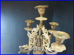 Antique Pair of Ornate French Enameled Brass Pedestal 5 Candle 4 Arm Candelabras