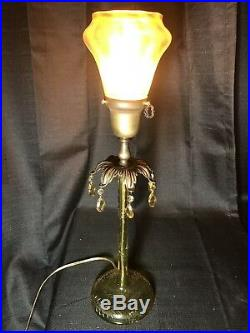 Antique Pairpoint ABP Intaglio Cut Crystal CandleStick Lamp Signed Steuben Shade
