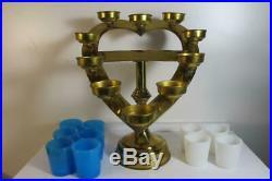Antique Religious Catholic Altar Brass Candle Holder (10) Candelabra Heart
