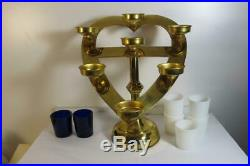 Antique Religious Catholic Altar Votive Brass Candle Holder Candelabra Heart