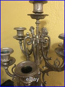 Antique Rococo Style Marble & Brass Candelabra Made In Italy Signed