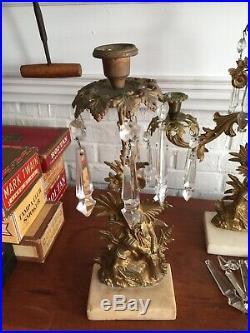 Antique Set Of Victorian Figural Brass & Marble Girandole Candelabras