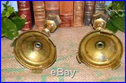 Antique Small Pair French Brass Altar Candlesticks Church Candle Holders