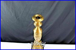 Antique Solid Brass Candlestick Holder Castilian Import 18 Tall French Empire