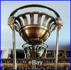 Antique Style Ram Heads Brass & Glass Potpourri Holder Candle Holder Candy Dish