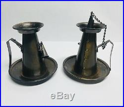 Antique Tell City Chair Company Weathered Brass Candle Holders Colonial Fing