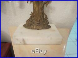 Antique Tree Brass Girandole Candelabra Marble Base