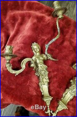 Antique/VTG Bronze/Brass CHERUB ANGELS Sconces WALL candle holders lighted HEAVY