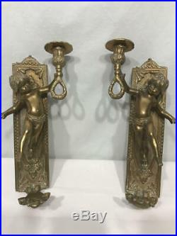 Antique VTG Solid Brass Metal Cherub Candle Holder Wall Sconce Lighting Deco SET