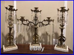 Antique Vase Urn Girandole 3 Piece Marble Brass Candelabra Set Candle Holders