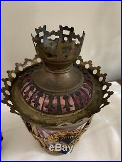 Antique Victorian 1800s Brass Jeweled Ormolu Lamp Candle Holder Fairy Lamp Shade