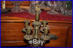 Antique Victorian 5 Arm Candelabra Candle Holder-#1-Brass-Griffin Base-Detailed