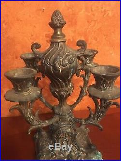 Antique Victorian Art Nouveau Cast Brass Candelabra 4 Candleholder Accuratecast