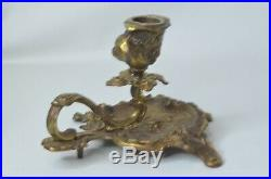 Antique Victorian BRASS ORNATE GOLD CHAMBERSTICK/CANDLESTICK Holder with Handle
