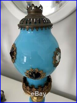 Antique Victorian Brass Jeweled Fairy Lamp Candle Holder Jewels Blue Opaline